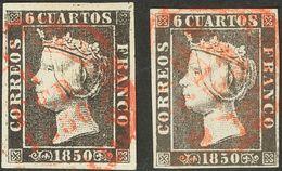 º 1, 1A. 6 Cuartos Negro, Dos Sellos (Planchas I Y II), Ambos Inutilizados Con Matasello Baeza, En Rojo. MAGNIFICOS. - Spain