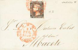 Sobre 1A. 1850. 6 Cuartos Negro. VALENCIA A ALBACETE. Matasello Baeza *** / VALENCIA. MAGNIFICA. - Spain