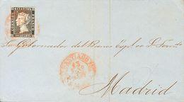 Sobre 1850. 6 Cuartos Negro. SANTIAGO A MADRID. Matasello Baeza SANTIAGO / GALICIA. MAGNIFICA Y RARA, ESPECIALMENTE CON  - Spain