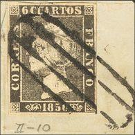 Fragmento 1A. 6 Cuartos Negro (II-10), Sobre Fragmento. Matasello PARRILLA DE MADRID. MAGNIFICO Y ESPECTACULAR ESTAMPACI - Spain