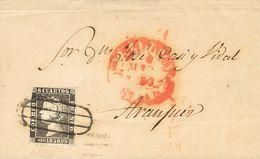 Sobre 1850. 6 Cuartos Negro (I-19). MADRID A ARANJUEZ. Matasello PARRILLA DE MADRID. MAGNIFICA. - Spain
