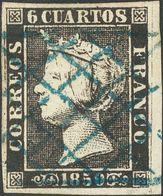 º 6 Cuartos Negro (I-9), Borde De Hoja. Matasello PARRILLA DE LERIDA, En Azul. MAGNIFICO Y SIN DUDA DE LOS MAS BONITOS D - Spain