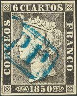º 6 Cuartos Negro  (I-23). Matasello P.P., En Azul De Barcelona. MAGNIFICO Y RARO. - Spain