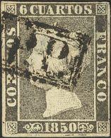 º 6 Cuartos Negro (I-7). Matasello P.P., De Gerona. MAGNIFICO Y RARO. Cert. GRAUS. - Spain
