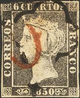 "º 6 Cuartos Negro. Matasello Mixto Marca Prefilatélica ""O"", En Rojo De Lérida Y ARAÑA, En Negro. MAGNIFICO. - Spain"