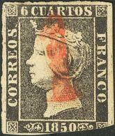"""º 6 Cuartos Negro  (I-12) (margen Corto Sin Importancia). Matasello """"1"""", De Ocaña. BONITO Y RARO. Cert. GRAUS. - Spain"""