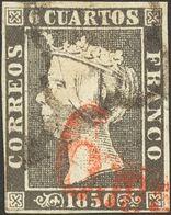 """º 1A. 6 Cuartos Negro (II-39). Matasello Mixto ARAÑA Y """"6 Ms"""", En Rojo De Barcelona. MAGNIFICO Y RARO. - Spain"""