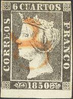 """º 6 Cuartos Negro (I-17), Borde De Hoja. Matasello De Porteo """"8"""", En Rojo De Barbastro. MAGNIFICO Y MUY RARO. Cert. CEM. - Spain"""