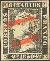 "º 6 Cuartos Negro  (I-13). Matasello ""11"", En Rojo De Bilbao. MAGNIFICO Y RARO. Cert. GRAUS. - Spain"