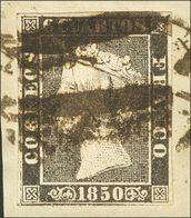 """Fragmento 1A. 6 Cuartos Negro  (I-20), Sobre Fragmento. Matasello """"11"""", De Cáceres. MAGNIFICO Y RARISIMO. Cert. GRAUS. - Spain"""
