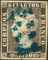 """º 6 Cuartos Negro. Matasello """"11"""" (limado), En Azul De Sevilla. MAGNIFICO. Cert. COMEX. - Spain"""