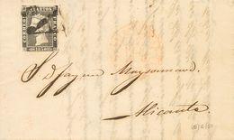 """Sobre 1A. 1850. 6 Cuartos Negro. BARCELONA A ALICANTE. Matasello Prefilatélico """"As"""", En Negro. MAGNIFICA Y RARA CON ESTA - Spain"""