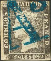 """º 6 Cuartos Negro (I-4). Matasello """"As"""", En Azul De Barcelona. MAGNIFICO Y RARO. - Spain"""