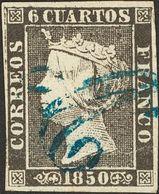 """º 6 Cuartos Negro. Matasello Prefilatélico """"A"""", En Azul Denominado """"Anagrama"""" De Córdoba. MAGNIFICO Y RARO. - Spain"""