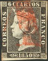 """º 6 Cuartos Negro. Matasello """"A"""", En Rojo De Abono De Santander. MAGNIFICO Y MUY RARO. - Spain"""