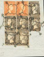 Fragmento 1(4), 1A(2), 3(2). 6 Cuartos Negro, Seis Sellos Y 5 Reales Rojo, Dos Sellos, Sobre Gran Fragmento. Matasello A - Spain