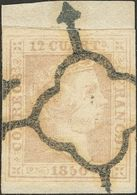 Fragmento 12 Cuartos Lila, Sobre Fragmento. Matasello ARAÑA (espectacular Estampación). MAGNIFICO. Cert. COMEX. (Edifil  - Spain