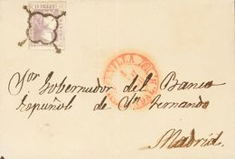 Sobre 1850. 12 Cuartos Lila. SEVILLA A MADRID. MAGNIFICA Y RARA. Cert. AIEP. - Spain