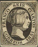* 6 Cuartos Negro (manchita Lavada En La Esquina Superior Derecha, Goma Original). MAGNIFICO. (Edifil 2018: 375€) - Spain