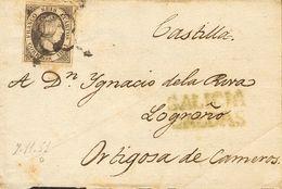 Sobre 1851. 6 Cuartos Negro. CALDAS DE REIS (PONTEVEDRA) A ORTIGOSA DE CAMEROS. En El Frente Marca Prefilatélica GALICIA - Spain