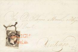 Sobre 1851. 6 Cuartos Negro. PUEBLA DE CARAMIÑAL A SANTIAGO. Matasello Mixto ARAÑA Y Prefilatélico GALICIA / PUEBLA, En  - Spain