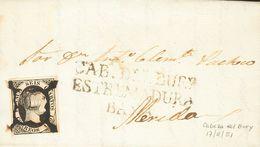 Sobre 1851. 6 Cuartos Negro. CABEZA DE BUEY A MERIDA. Matasello ARAÑA, En Tinta De Escribir Y En El Frente Marca Prefila - Spain