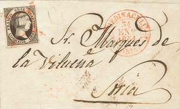 Sobre 1851. 6 Cuartos Negro. MEDINACELI A SORIA. Matasello ARAÑA, En Rojo Y En El Frente Baeza MEDINACELI / SORIA. MAGNI - Spain