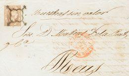 """Sobre 1851. 12 Cuartos Lila. MURCIA A REUS. En El Frente Manuscrito """"Muestras Sin Valor"""". MAGNIFICA Y RARO DOBLE PORTE C - Spain"""