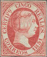 * 5 Reales Rosa (leve Pliegue Vertical). Color Intenso. MAGNIFICO. Cert. COMEX. (Edifil 2018: 3375€) - Spain