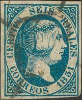 º 6 Reales Azul (color Intenso). BONITO. Cert. COMEX. (Edifil 2018: 1475€) - Spain
