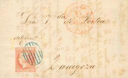 Sobre 1852. 6 Cuartos Rosa. BARCELONA A ZARAGOZA. Matasello PARRILLA, En Azul. MAGNIFICA. - Spain