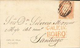 Sobre 1852. 6 Cuartos Rosa. CABO DE CRUZ (CORUÑA) A SANTIAGO. En El Frente Marca Prefilatélica GALICIA / BOIRO, En Rojo. - Spain