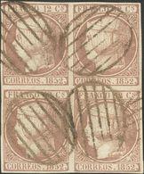 º 13(4). 12 Cuartos Lila, Bloque De Cuatro. MAGNIFICO Y RARO. Cert. COMEX. (Edifil 2014: 1325€) - Spain