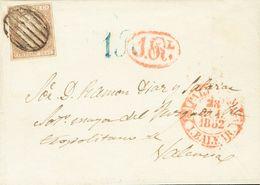 Sobre 1852. 12 Cuartos Lila. PALMA DE MALLORCA A VALENCIA. En El Frente Baeza PALMA DE M. / I.BALEAR Y Portes Estampados - Spain