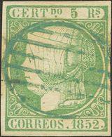 º 5 Reales Verde. Matasello PARRILLA, En Azul. MAGNIFICO. (Edifil 2014: 300€) - Spain