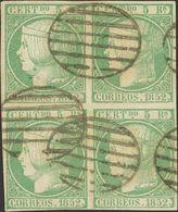 º 15(4). 5 Reales Verde, Bloque De Cuatro. MAGNIFICO Y RARO. Cert. COMEX. (Edifil 2014: 1065€) - Spain