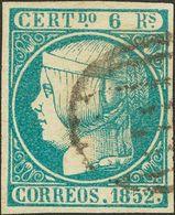 º 6 Reales Azul Verdoso. Color Muy Intenso Y Matasello Limpio. MAGNIFICO. Cert. COMEX. (Edifil 2018: 725€) - Spain