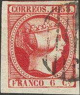 º 6 Cuartos Rosa Carmín, Esquina De Pliego. Color Intenso. PIEZA DE LUJO. - Spain