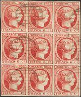 º 17(9). 6 Cuartos Rosa Carmín, Bloque De Nueve. MAGNIFICO Y MUY RARO, PIEZA DE ENORME BELLEZA. (Edifil 2014: +++543€) - Spain