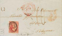 """Sobre 1853. 6 Cuartos Carmín. VALLADOLID A BAYONA (FRANCIA). Matasello PARRILLA Y En El Frente Porteo Francés """"10"""", Segú - Spain"""