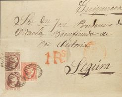 Sobre 17, 18(2). 1852. 6 Cuartos Rosa Y 12 Cuartos Violeta, Pareja. Frontal De LOGROÑO A SEGURA (GUIPUZCOA). MAGNIFICA Y - Spain