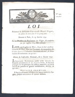 Loi Du 11 Janvier 1791 Pour La Fabrication Des Pièces De 15 Et 30 Sols En Argent Vosges Imprimé à Epinal - Books & Software
