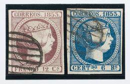º 18, 21. 12 Cuartos Violeta Y 6 Reales Azul. Colores Intensos. MAGNIFICOS. Cert. AIEP (6 Reales). (Edifil 2018: 780€) - Spain