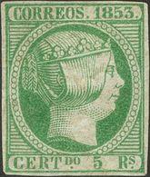 (*) 5 Reales Verde (manchas De Tinta Lavada, Apariencia De Sello Nuevo). A EXAMINAR. (Edifil 2018: 3200€) - Spain