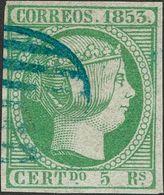 º 5 Reales Verde. Matasello PARRILLA, En Azul. MAGNIFICO Y RARO. Cert. COMEX. (Edifil 2014: 640€) - Spain