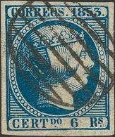 º 6 Reales Azul. Grandes Márgenes Y Matasello Limpio. PIEZA DE LUJO. Cert. COMEX. (Edifil 2018: 610€) - Spain