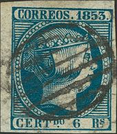 º 6 Reales Azul, Esquina De Pliego. MAGNIFICO Y RARO. Cert. COMEX. (Edifil 2018: +++610€) - Spain