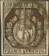 º 1 Cuarto Bronce Dorado. Márgenes Enormes. PIEZA DE LUJO. Cert. COMEX. (Edifil 2018: 745€) - Spain