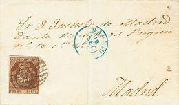 Sobre 1853. 1 Cuarto Bronce Dorado. Correo Interior De Madrid. MAGNIFICA Y RARA. Cert. EXFIMA. - Spain