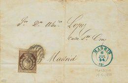 Sobre 1854. 1 Cuarto Bronce. MARSELLA (FRANCIA) A MADRID, Depositada En El Correo De Madrid. MAGNIFICA Y UNICA CONOCIDA  - Spain